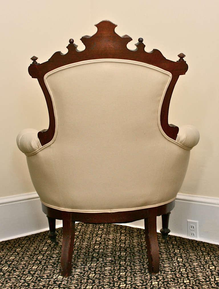 Turned Rococo Revival John Jelliff Armchair For Sale