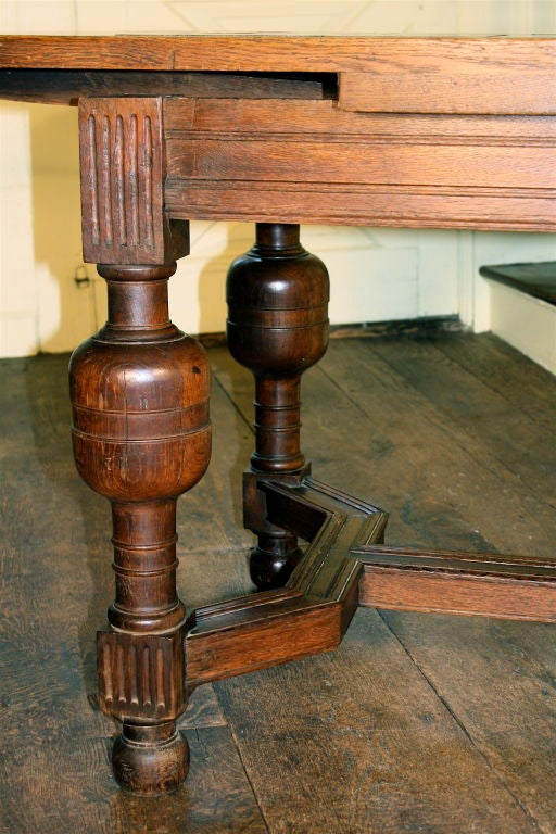 English Oak Draw-leaf Table Style of James I For Sale 1