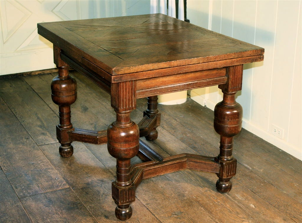 English Oak Draw-leaf Table Style of James I For Sale 4