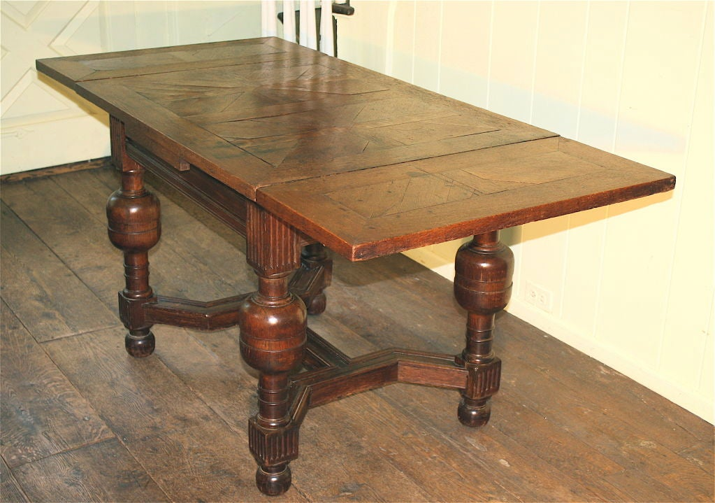 English Oak Draw-leaf Table Style of James I For Sale 5