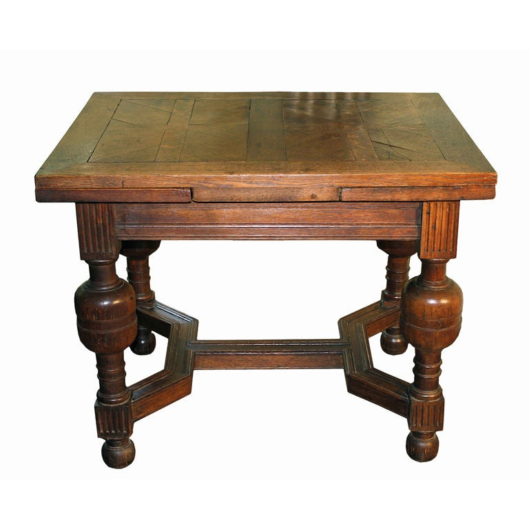 English Oak Draw Leaf Table Style Of James I For Sale