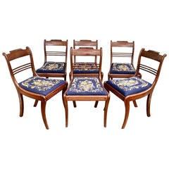 SIX Padauk Klismos Dining Chairs