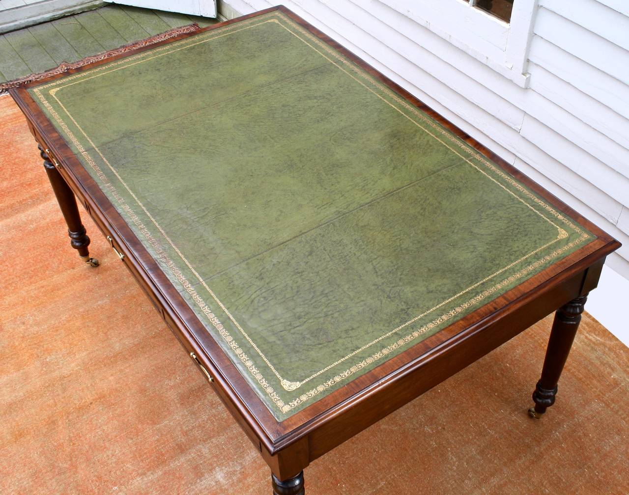 Edwardian Leather Top Library Table At 1stdibs