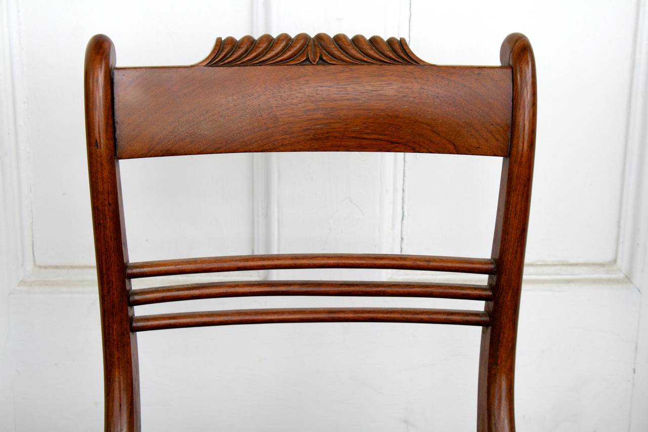 Hand-Carved SIX Philadelphia Klismos Dining Chairs For Sale