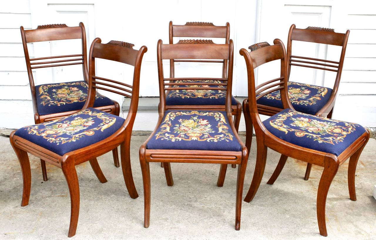 American Classical SIX Philadelphia Klismos Dining Chairs For Sale