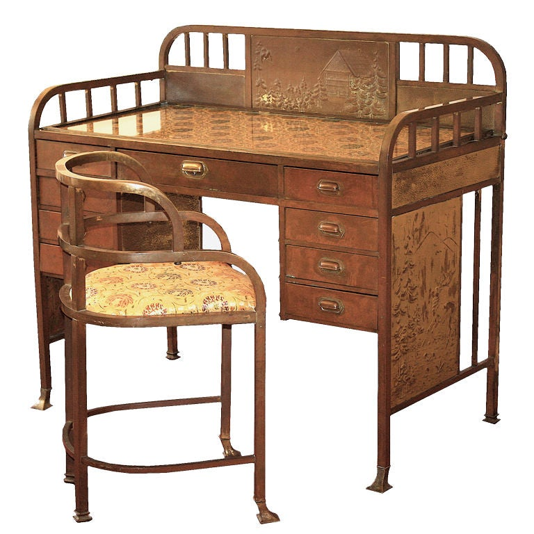 Art Nouveau U0027Secessionistu0027 Desk And Chair By Josef Hoffmann 1