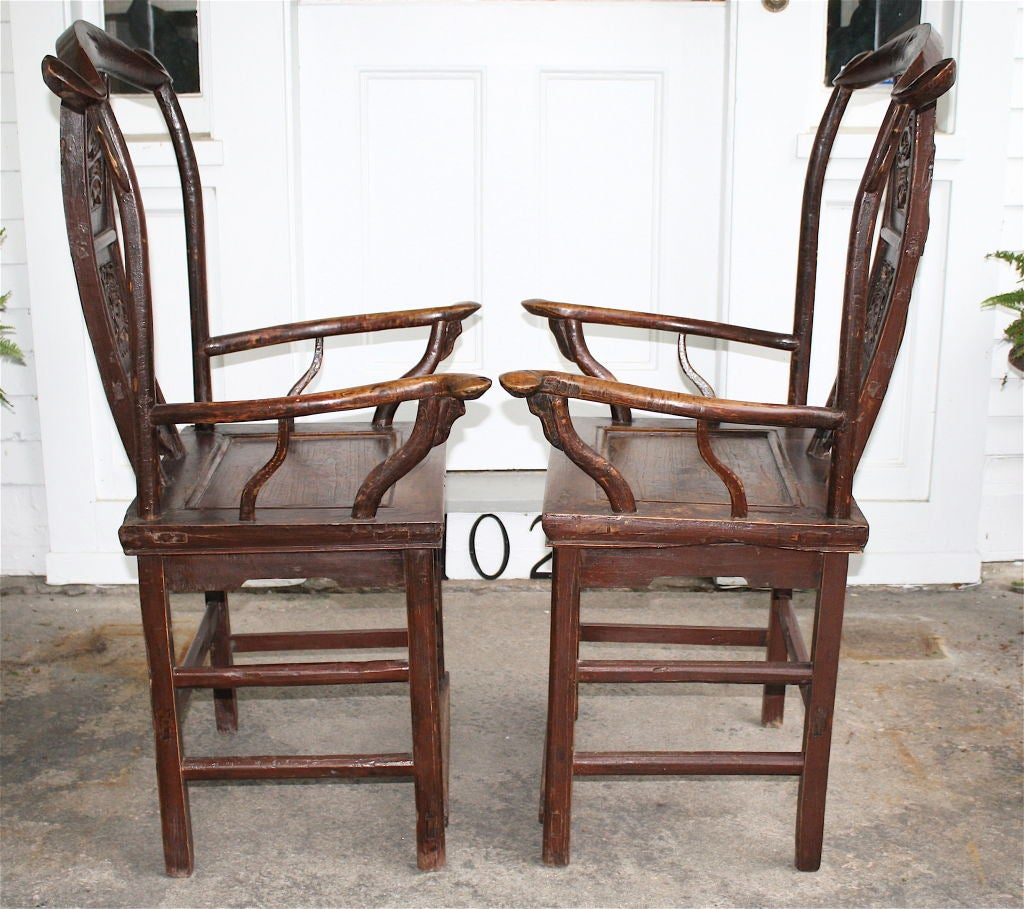 Pair of Chinese Guanmaoyi Chairs In Distressed Condition For Sale In Woodbury, CT