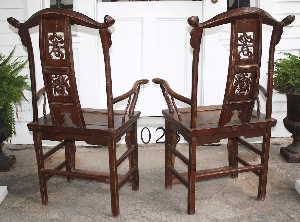19th Century Pair of Chinese Guanmaoyi Chairs For Sale