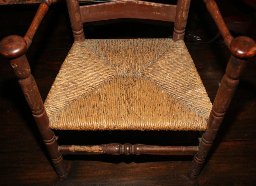 Hand-Carved Massachusetts Slat-Back Armchair For Sale