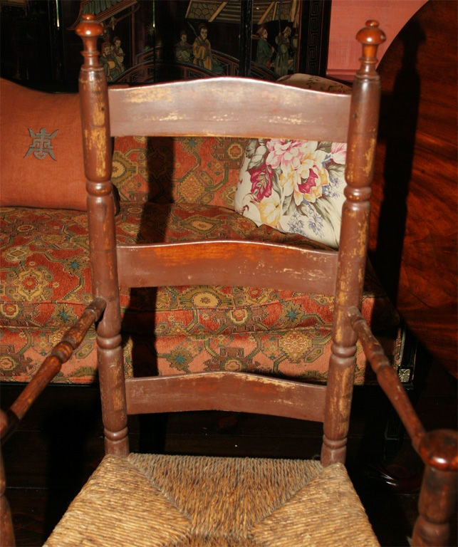 Massachusetts Slat-Back Armchair In Distressed Condition For Sale In Woodbury, CT