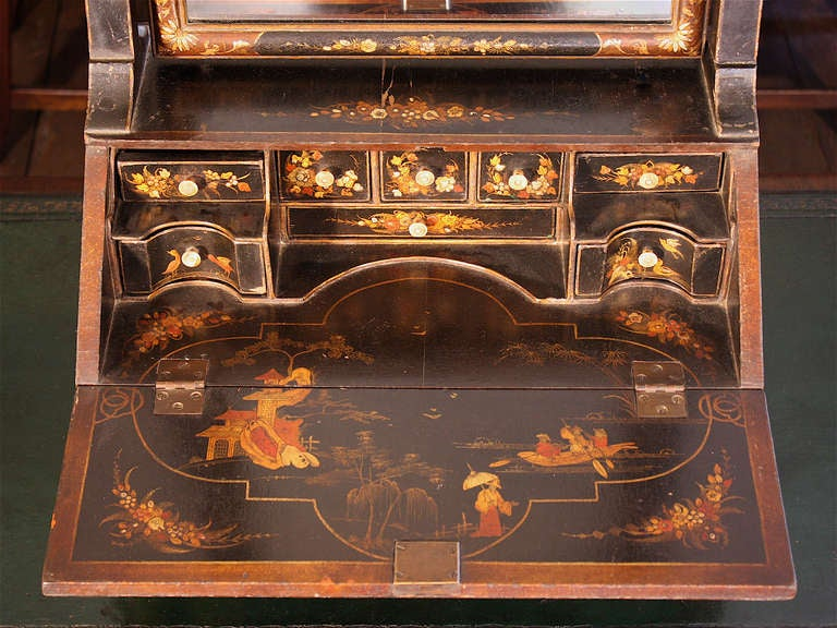 chinoiserie vanity mirror on miniature bureau secretaire. Black Bedroom Furniture Sets. Home Design Ideas