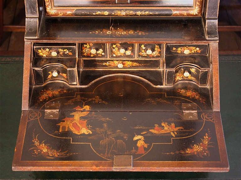chinoiserie vanity mirror on miniature bureau secretaire at 1stdibs. Black Bedroom Furniture Sets. Home Design Ideas