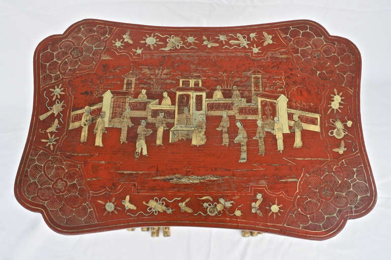 19th Century Chinese Export Parcel-gilt On Lacquer Quartetto Tables For Sale