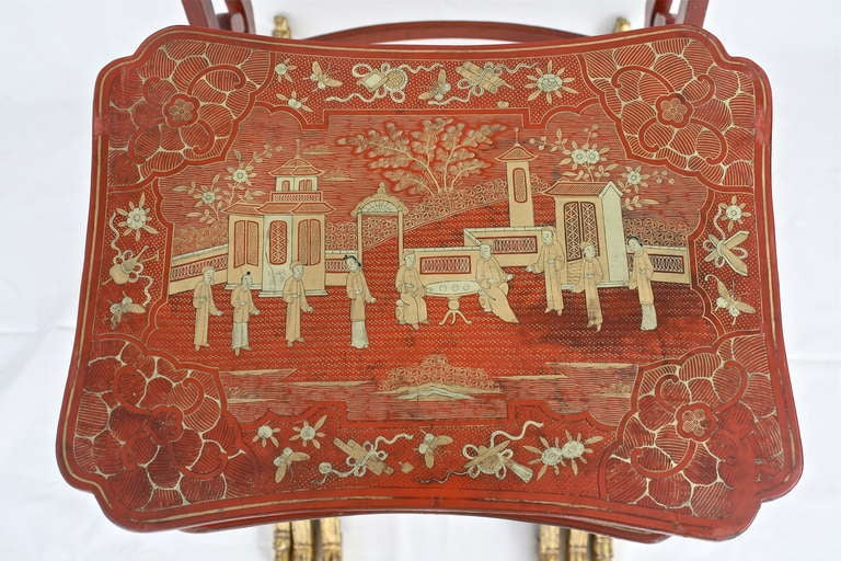 Chinese Export Parcel-gilt On Lacquer Quartetto Tables For Sale 1
