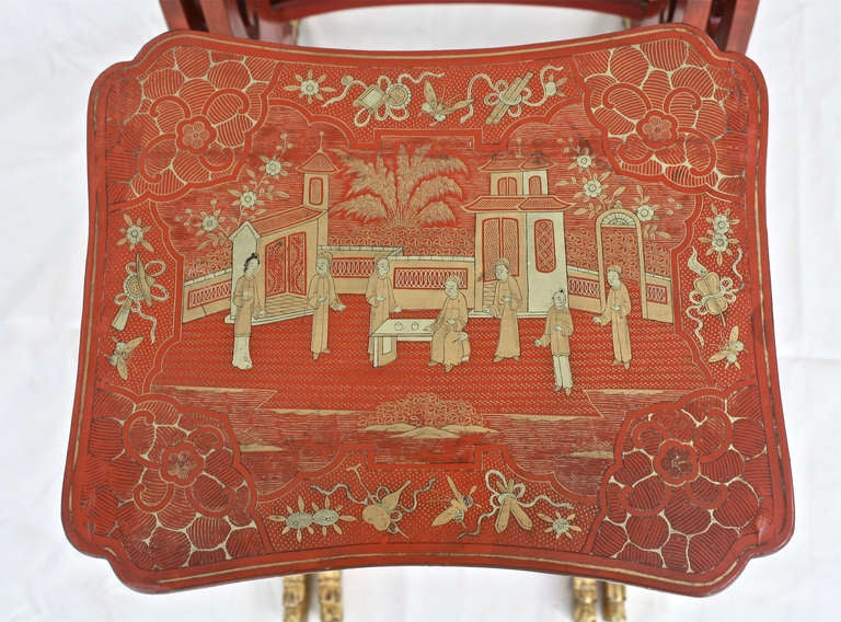 Chinese Export Parcel-gilt On Lacquer Quartetto Tables For Sale 2