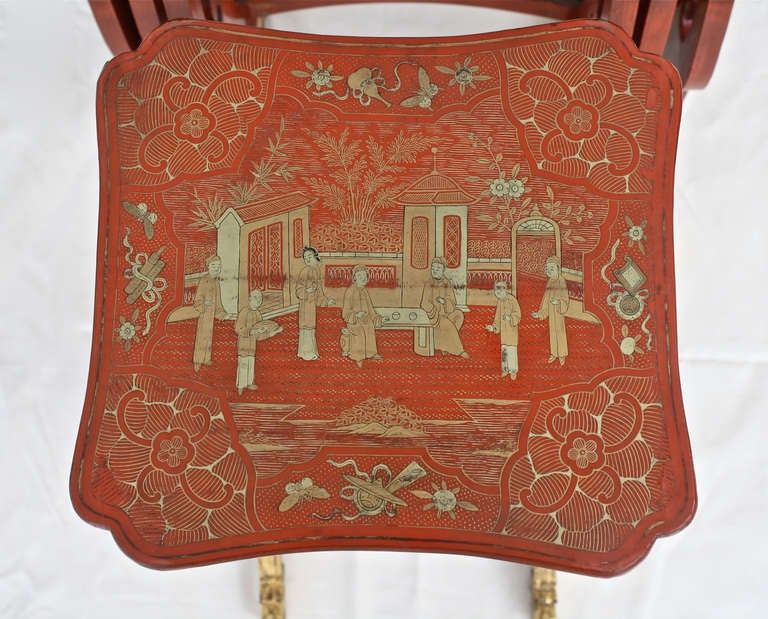 Chinese Export Parcel-gilt On Lacquer Quartetto Tables For Sale 3