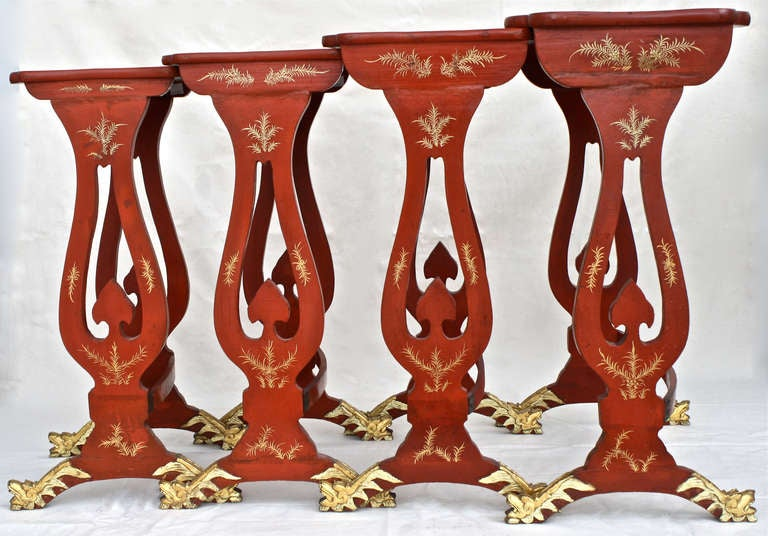 Regency Chinese Export Parcel-gilt On Lacquer Quartetto Tables For Sale