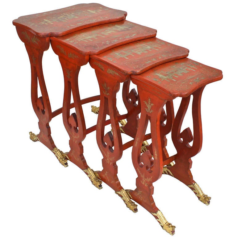 Chinese Export Parcel-gilt On Lacquer Quartetto Tables For Sale
