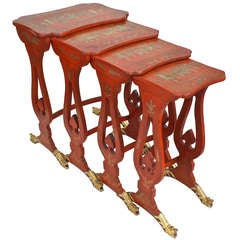 Chinese Export Parcel-gilt On Lacquer Quartetto Tables