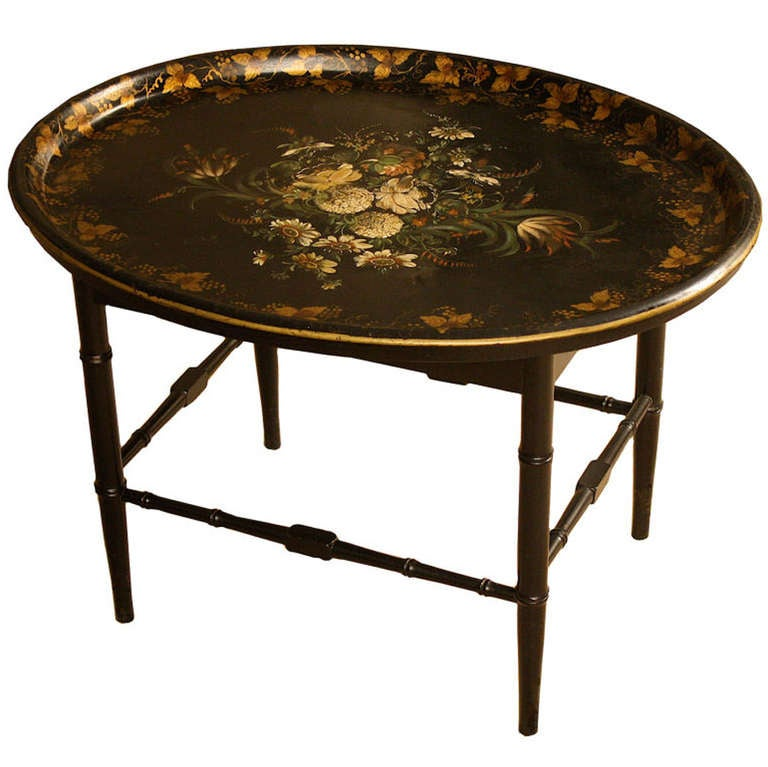 American Toleware Tray On Stand At 1stdibs