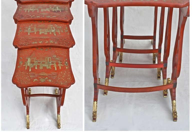 Chinese Export Parcel-gilt On Lacquer Quartetto Tables For Sale 5