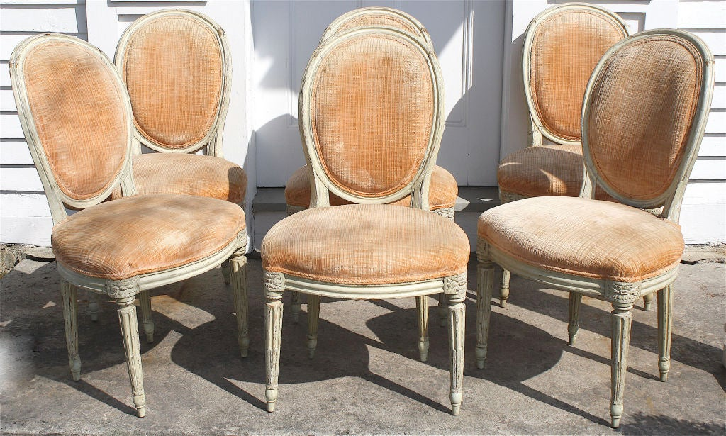 Six louis xvi painted side chairs chaises en peinte at for Chaises louis xvi occasion