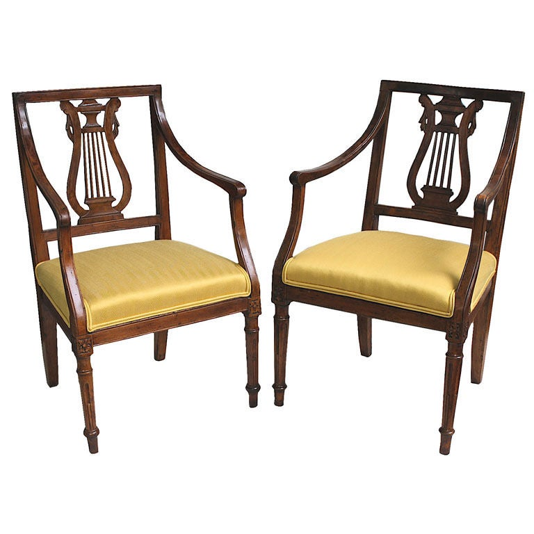Two Italian Neoclassical Lyre Back Piedmontese Armchairs At 1stdibs