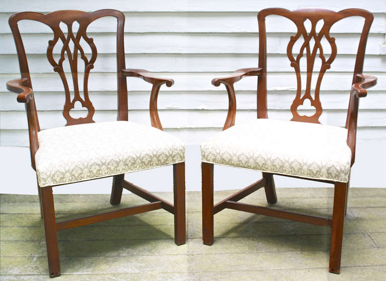 Set Of 10 American Chippendale Revival Dining Chairs At