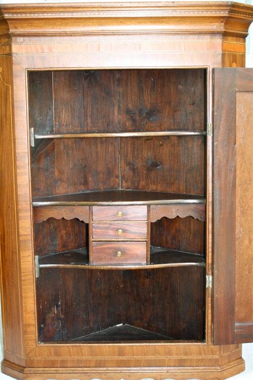 Hand-Crafted Scottish Hepplewhite Inlaid Corner Cabinet For Sale