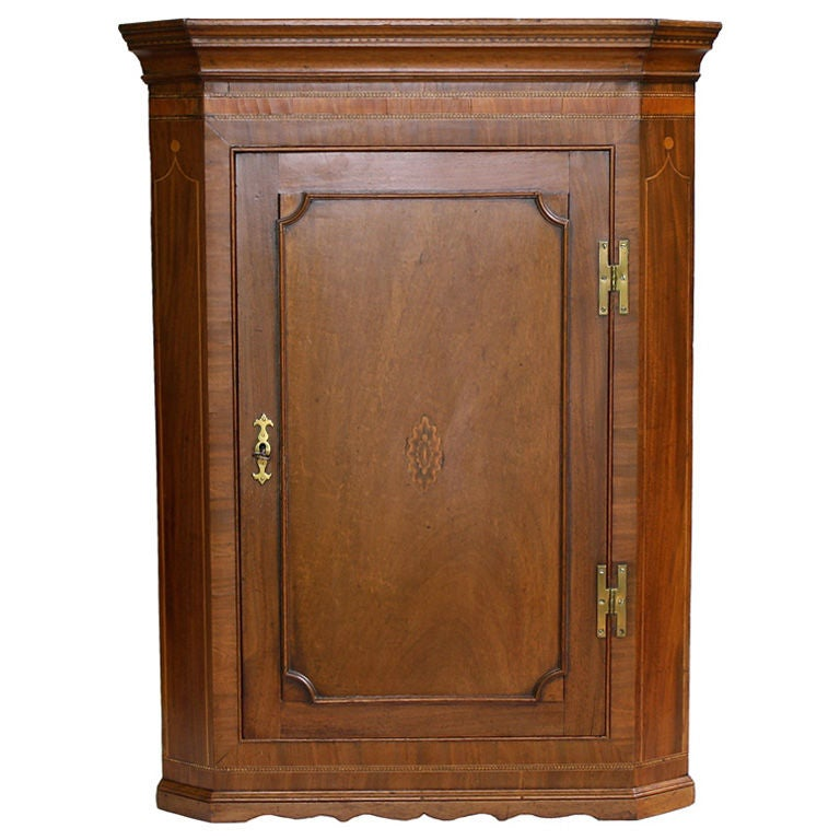 Scottish Hepplewhite Inlaid Corner Cabinet 1