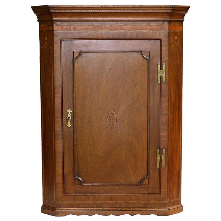 Scottish Hepplewhite Inlaid Corner Cabinet For Sale