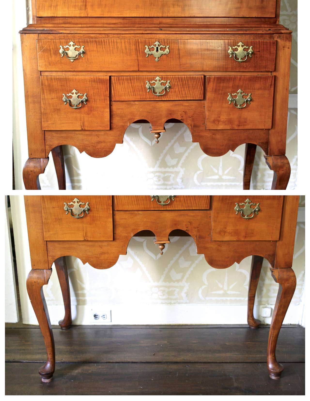 Newport Queen Anne Tiger Maple Highboy - Christopher Townsend Shop For Sale 1