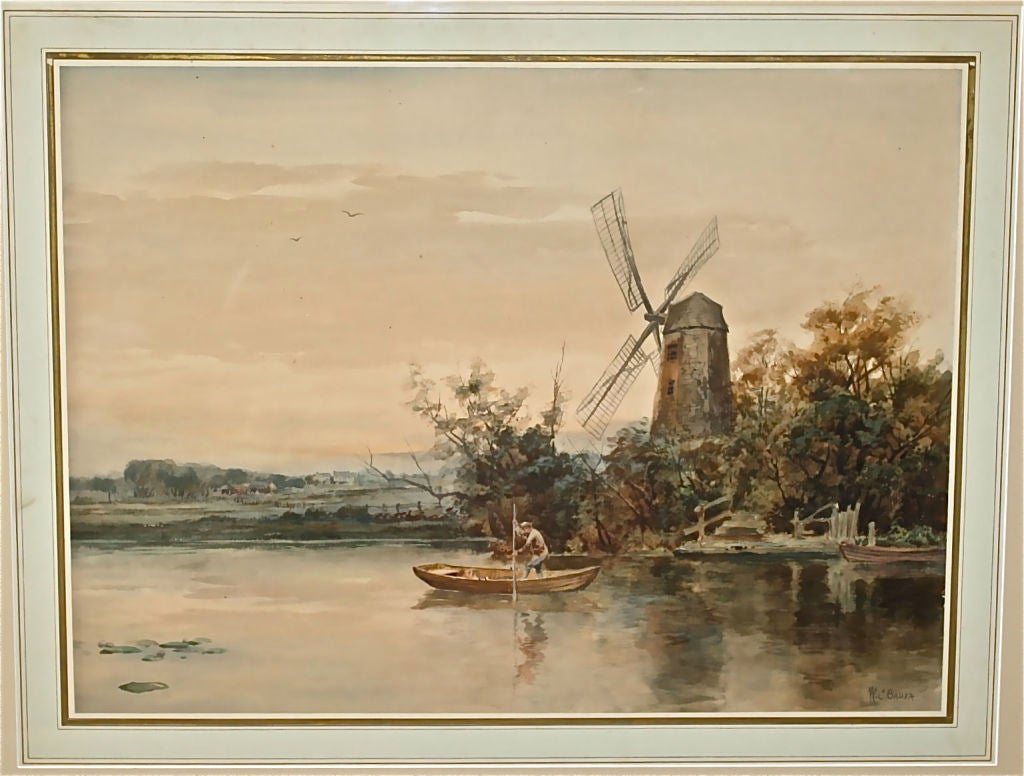 A matted and burl-wood framed watercolor landscape by W. C. Bauer (American) 1862-1904.  De Lage Landen (Dutch Low Country) with windmill and figure in boat.