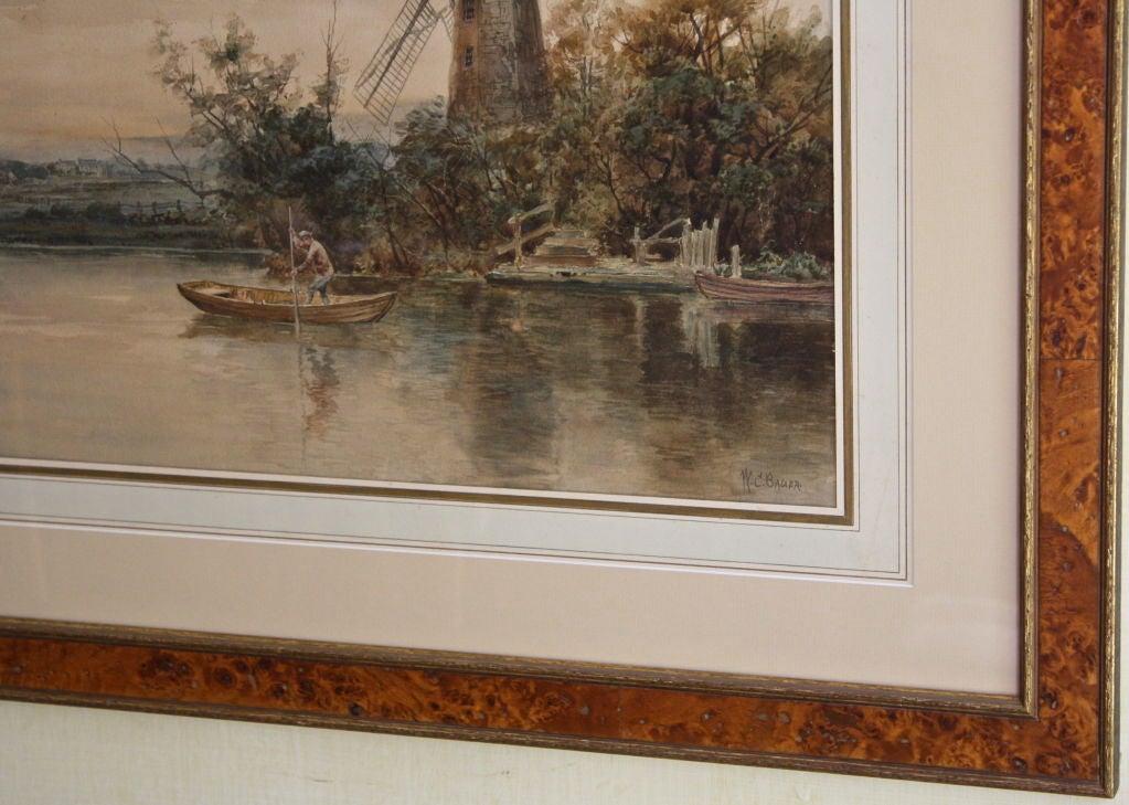 """Dutch River Scene""  W. C. Bauer  Watercolor Landscape 3"