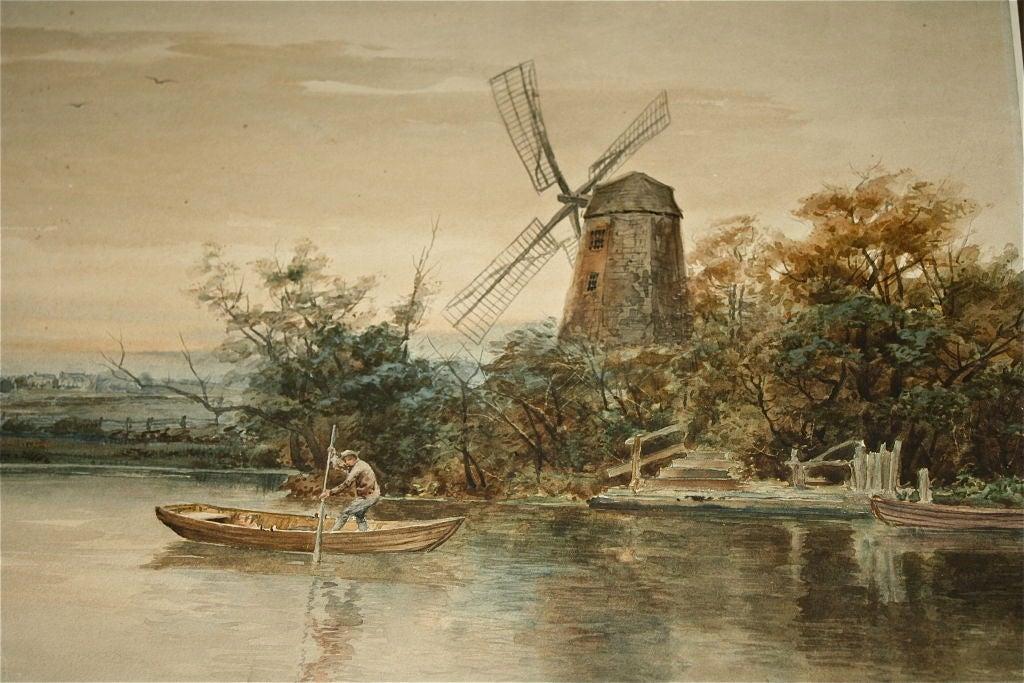 """Dutch River Scene""  W. C. Bauer  Watercolor Landscape 5"