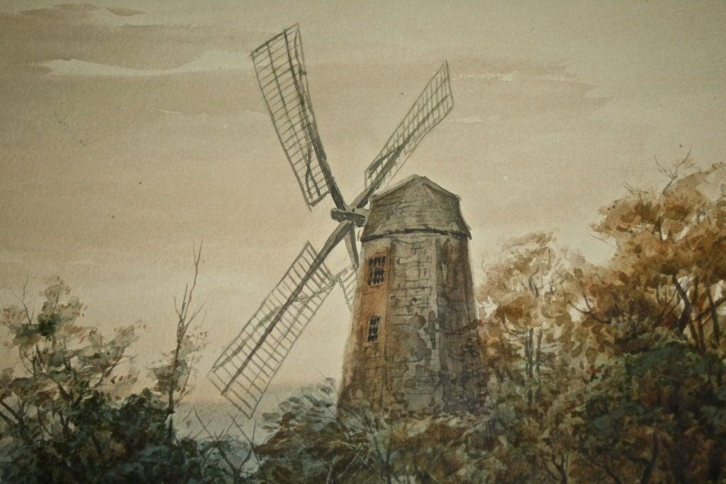 """Dutch River Scene""  W. C. Bauer  Watercolor Landscape 6"