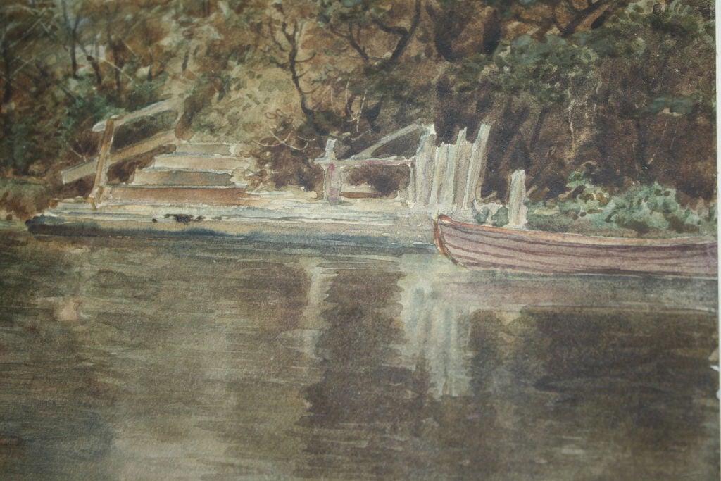 """Dutch River Scene""  W. C. Bauer  Watercolor Landscape 7"