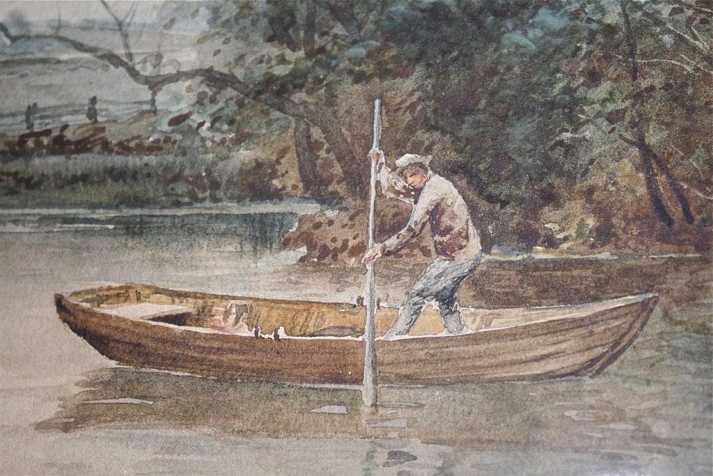 """Dutch River Scene""  W. C. Bauer  Watercolor Landscape 8"