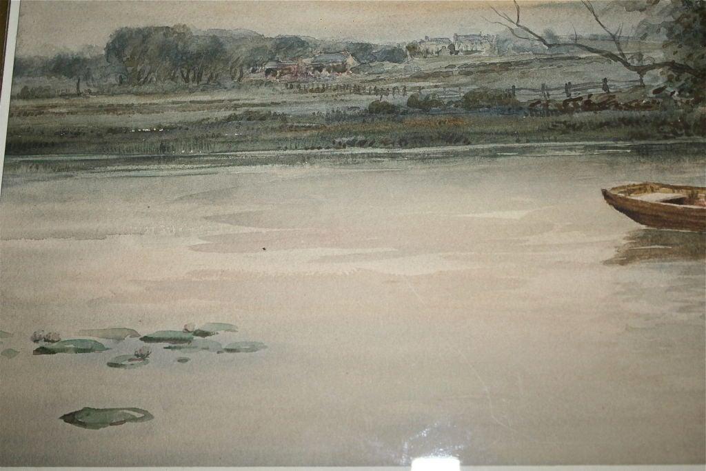 """Dutch River Scene""  W. C. Bauer  Watercolor Landscape 9"