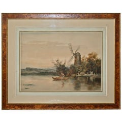 """Dutch River Scene""  W. C. Bauer  Watercolor Landscape"