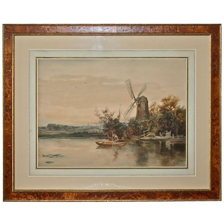 """Dutch River Scene""  W. C. Bauer  Watercolor Landscape 1"