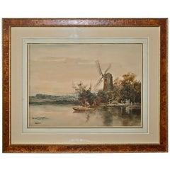 """Dutch River Scene""  W. C. Bauer  Watercolor Landscape"