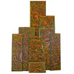 Set of 8 Chinoiserie Gilded Leather Valance Panels