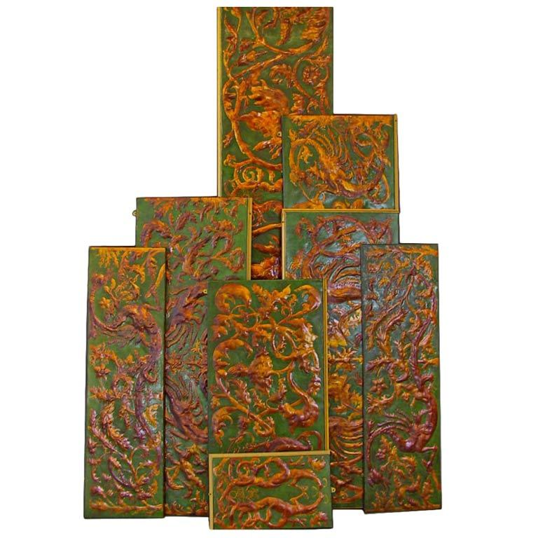 Set of 8 Chinoiserie Gilded Leather Valance Panels For Sale