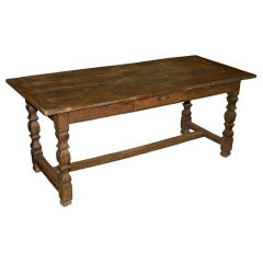 French Hewn Chestnut Refectory Table -  Table de Cuisine