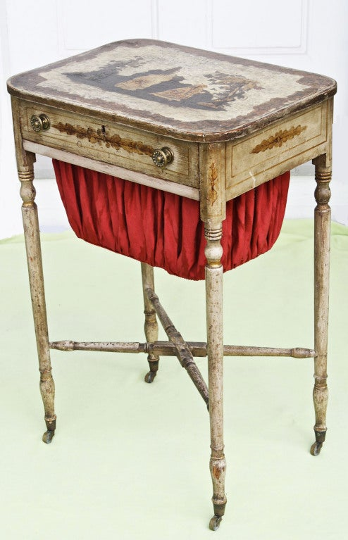 American Federal Japanned & Stenciled Needlework or Sewing Table For Sale 1