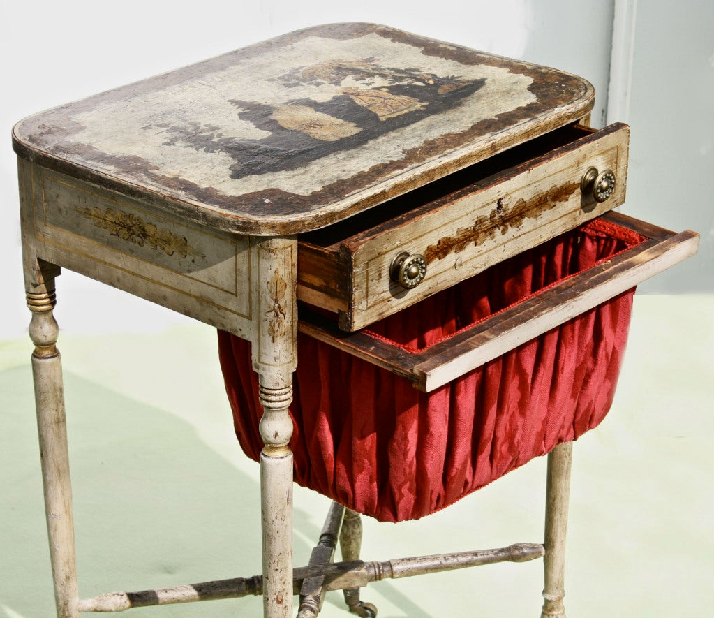 American Federal Japanned & Stenciled Needlework or Sewing Table For Sale 2