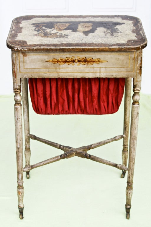American Federal Japanned & Stenciled Needlework or Sewing Table For Sale 4