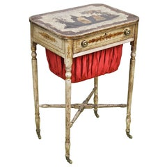 American Federal Japanned & Stenciled Needlework Table