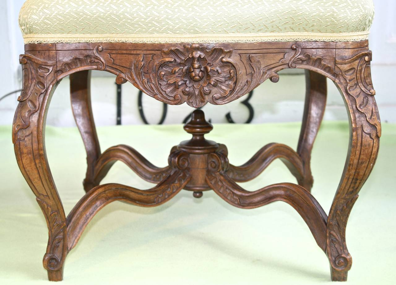 Carved Louis XV Revival Court Tabouret For Sale